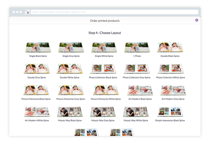 Les options pour organiser vos photos via Sharypic